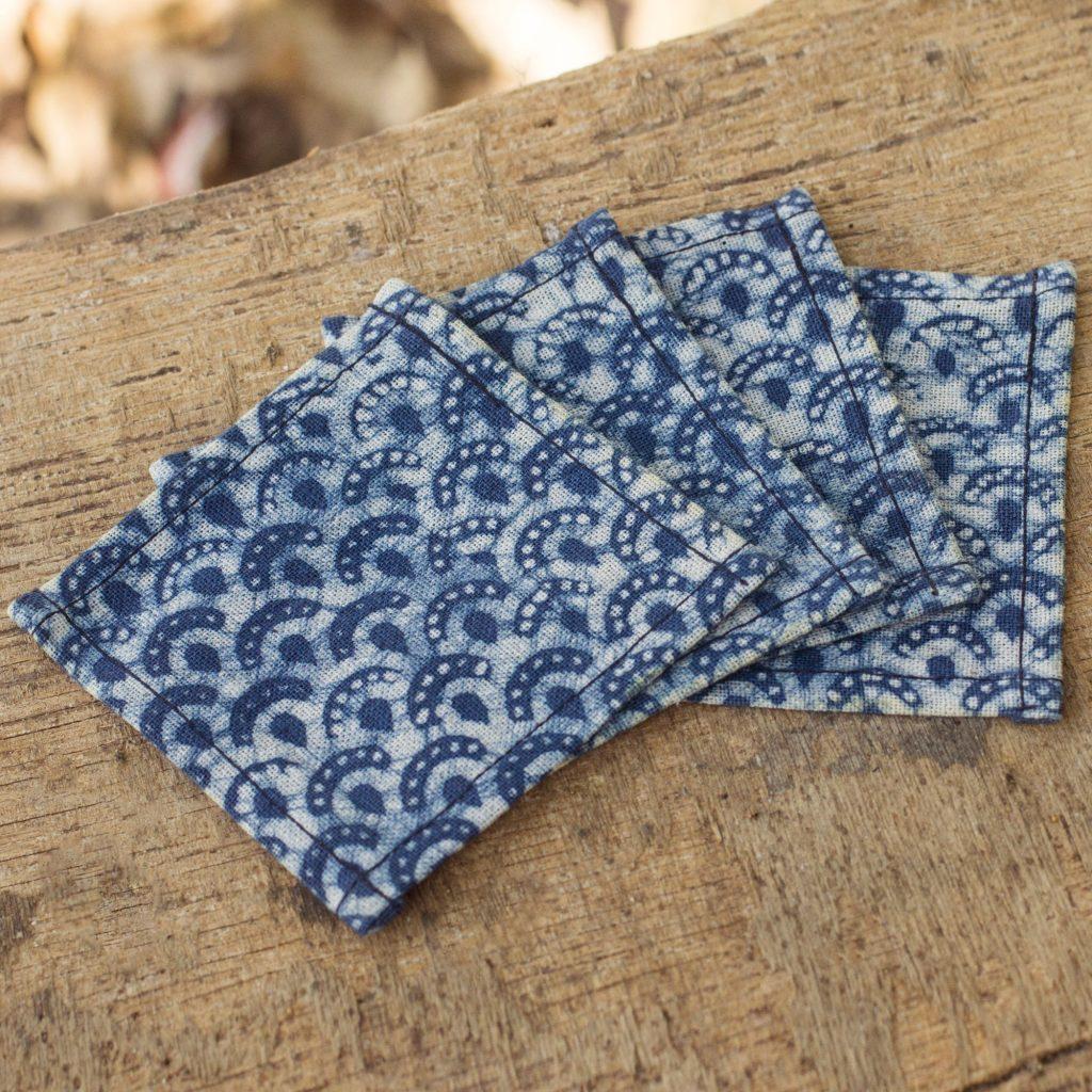 Indigo Blue Coasters Artisan Crafted Cotton Batik (Set of 4), 'Indigo Arches'