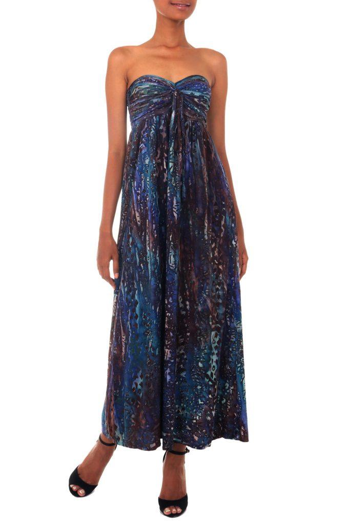 Batik Strapless Maxi Dress from Indonesia, 'Bali Empress'