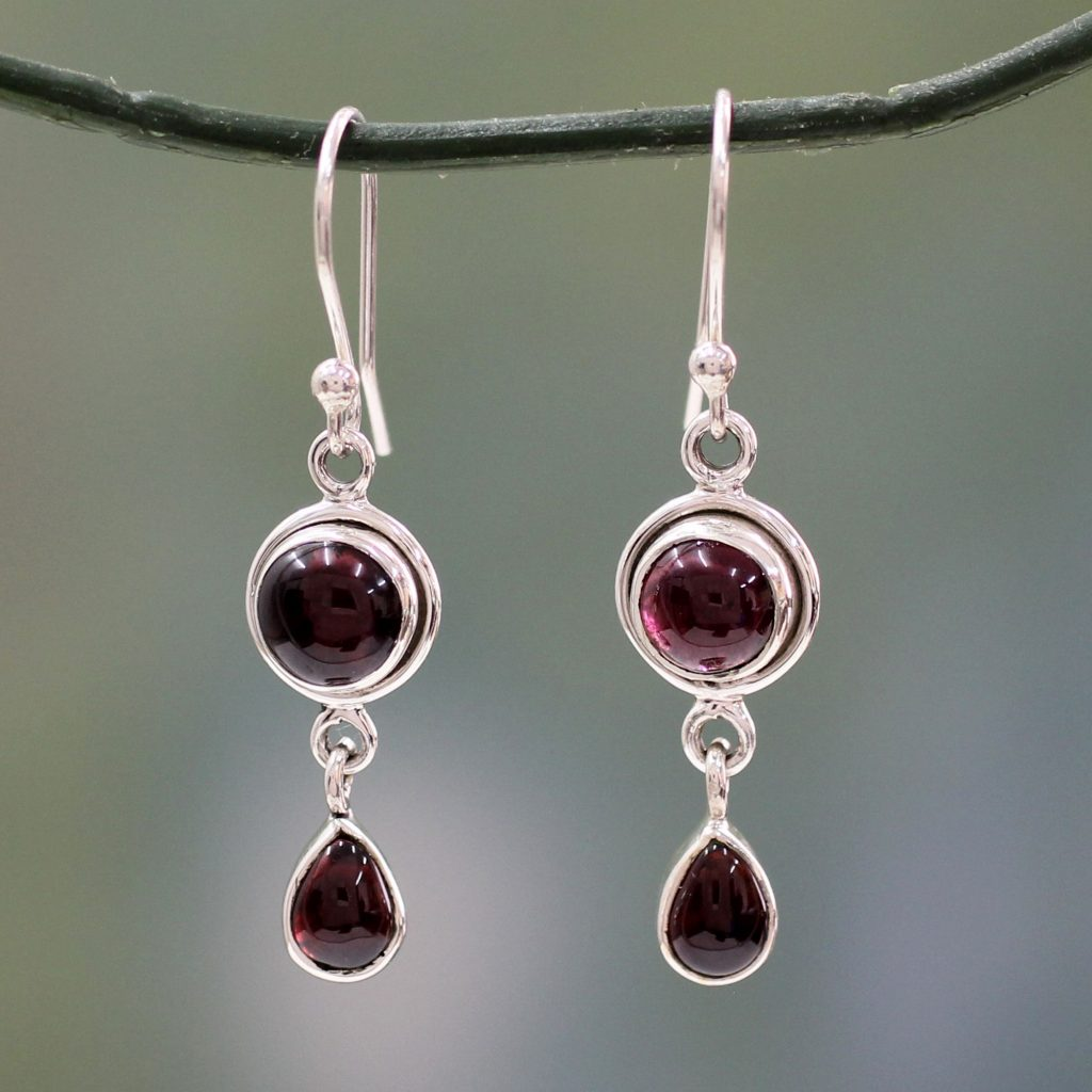 Garnet and Sterling Silver Gemstone Earrings Handmade in India, 'Crimson Glow'