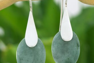 Fair Trade Silver 925 and Green Jade Handcrafted Earrings, 'Cool Maya Jungle'
