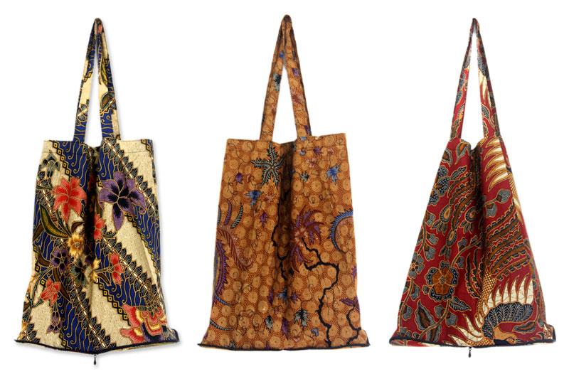 Batik Cotton Shopping Tote Bags (Set of 3), 'Jawadwipa Legacy