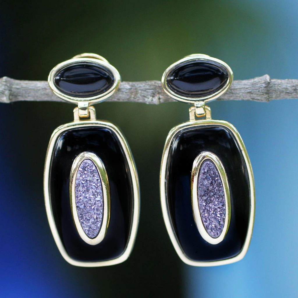 Handcrafted Brazilian Drusy Agate and Onyx Gemstone Earrings, 'The Eye of the Ebony Sky