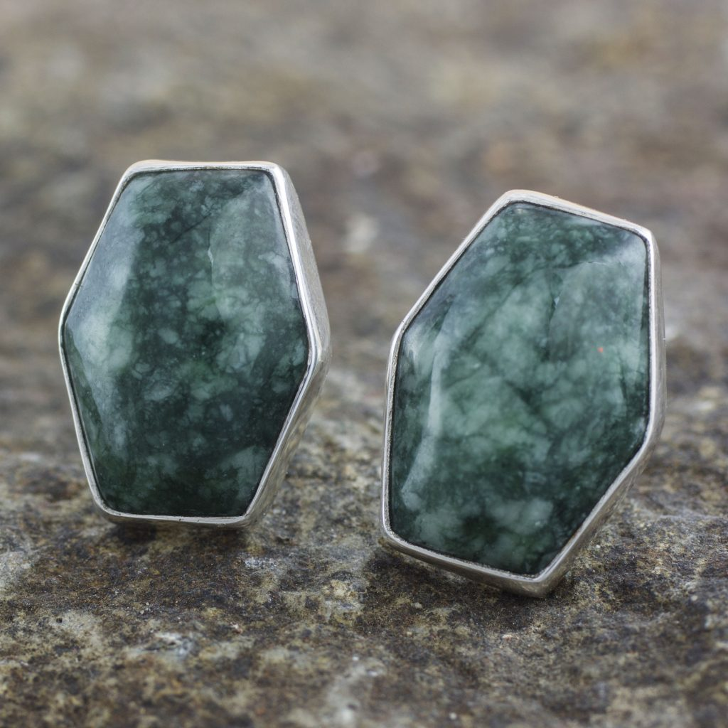 Artisan Crafted Silver and Green Jade Button Gemstone Earrings, 'Green Maya Cornerstone'