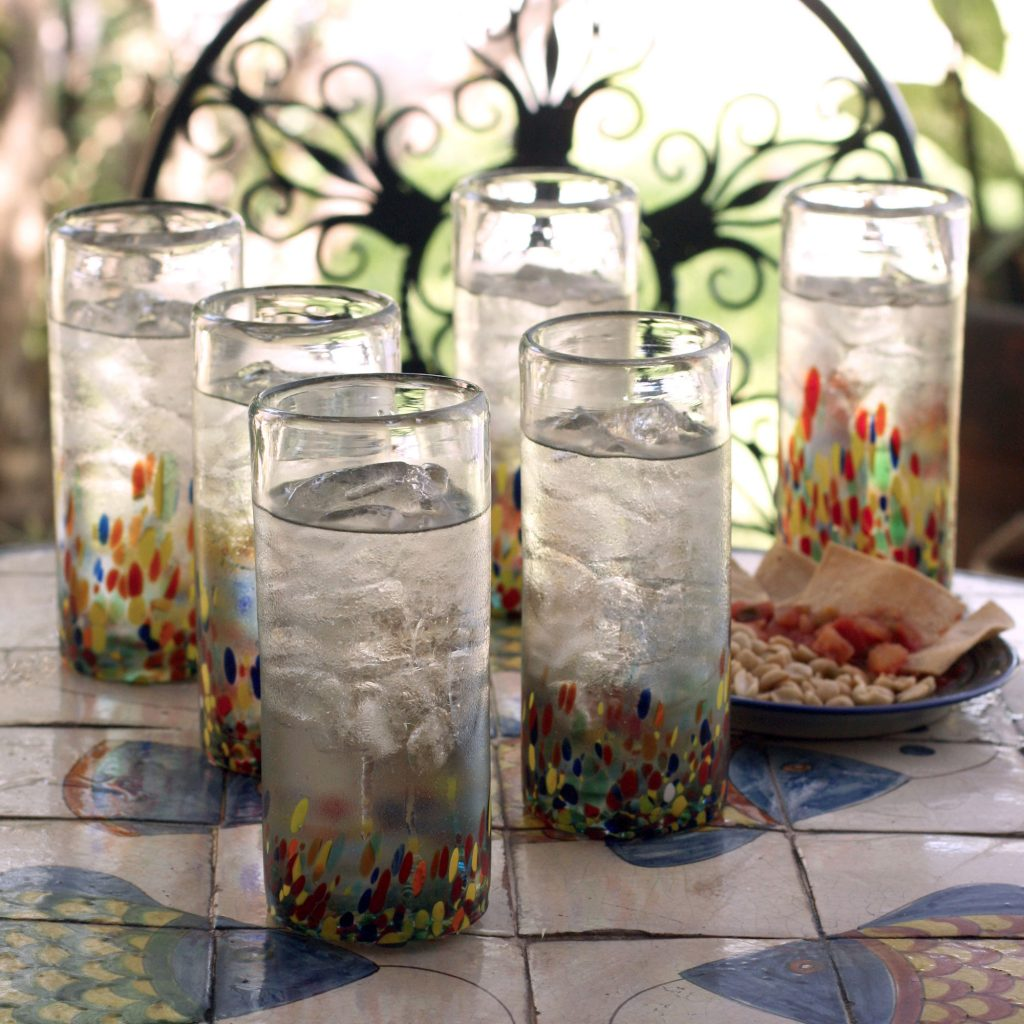 Handblown Highball Cocktail Glasses from Mexico (Set of 6), 'Color Celebration' for Mexican dinner party