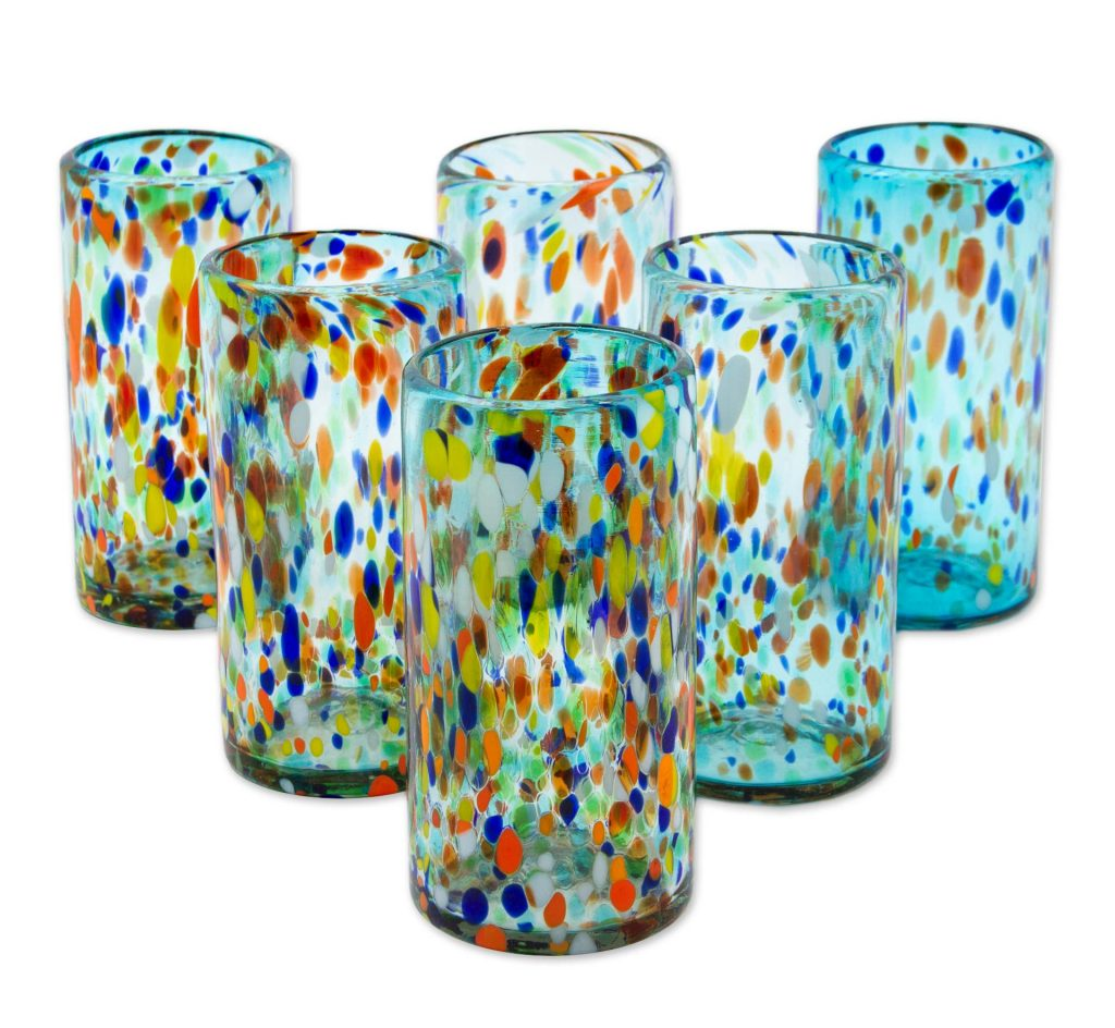 Hand Crafted Blown Glass Tumblers (set of 6), 'Sky Rainbow Raindrops' Mexican dinner party