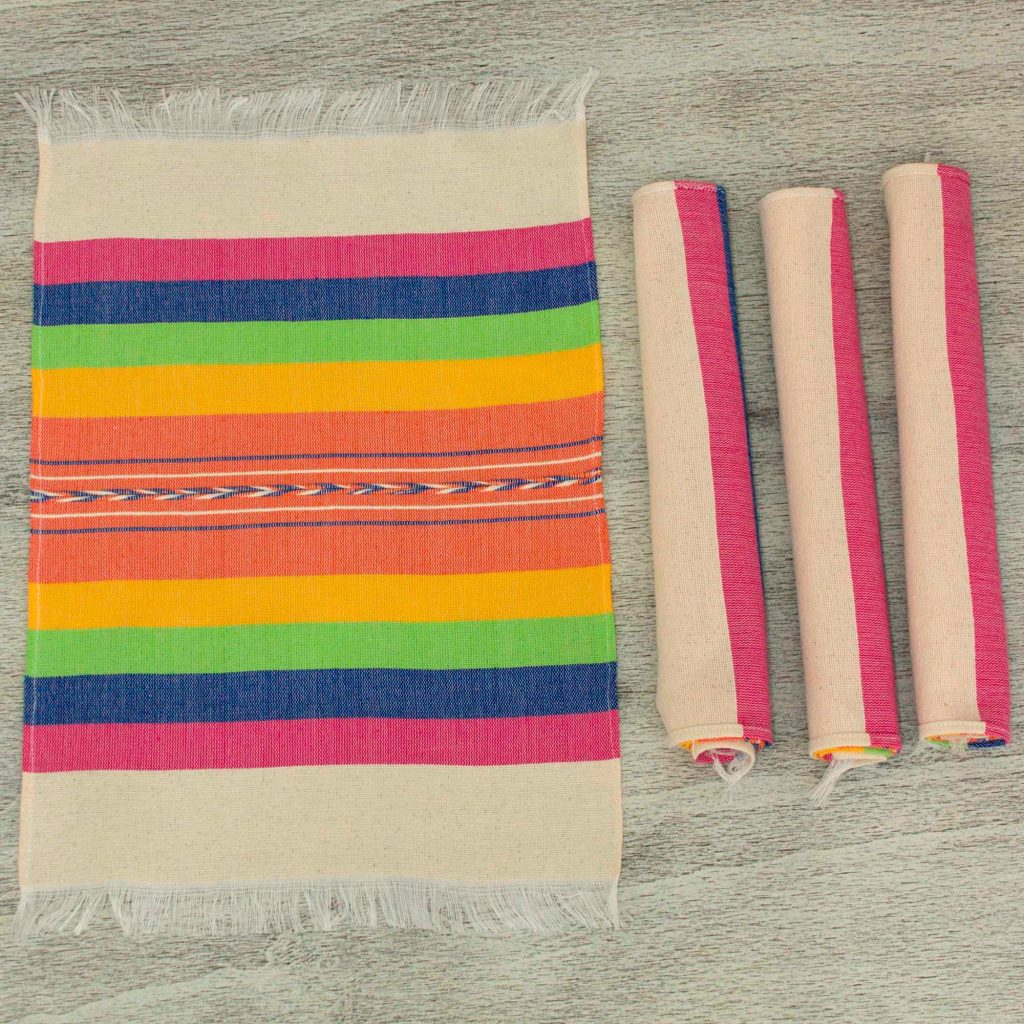Hand-woven Placements in Multicolor Stripes, 'Fiesta Hues' for Mexican dinner party