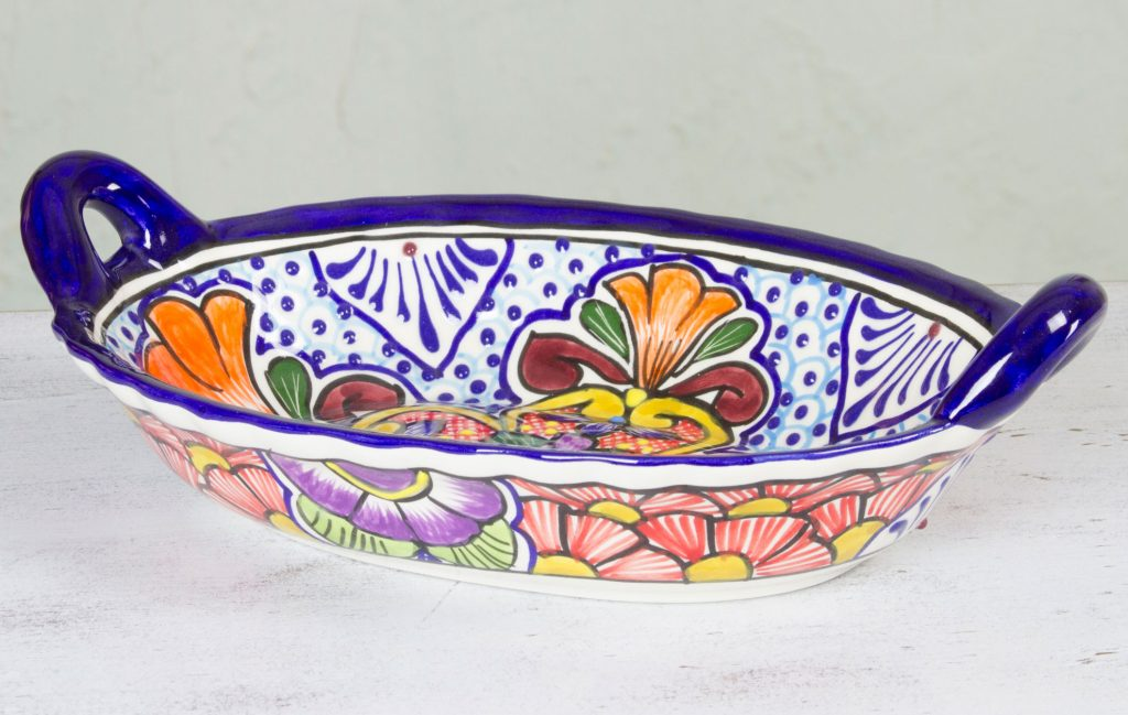 Mexican Talavera Floral Ceramic Oval Serving Bowl, 'Wilderness' for Mexican dinner party