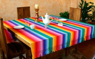 Fair Trade Cotton Table Linen, 'Rainbow Fantasy'