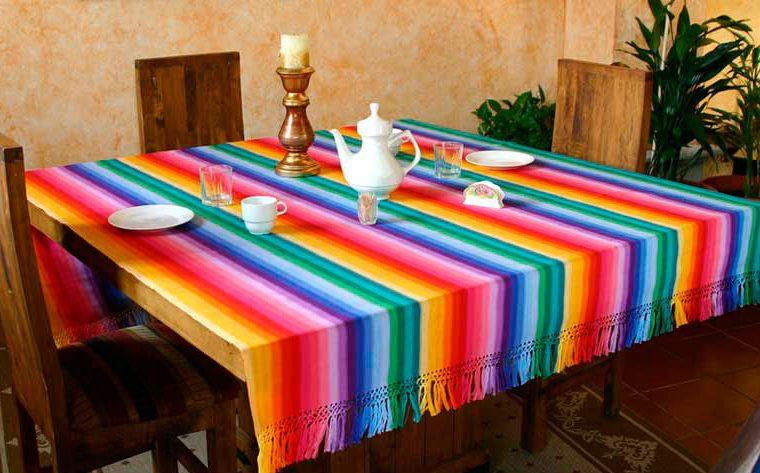 Fair Trade Cotton Table Linen, 'Rainbow Fantasy' for Mexican dinner party