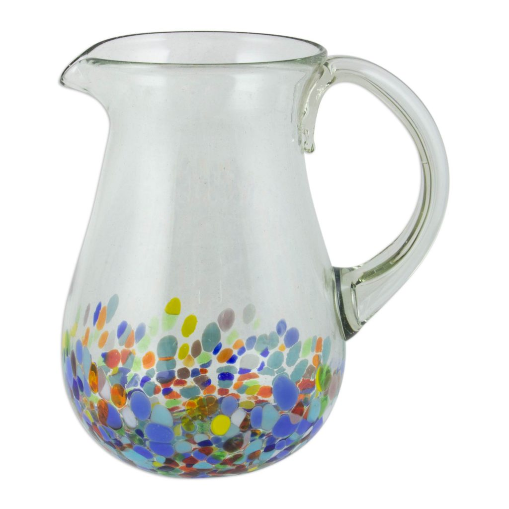 Artisan Crafted Colorful Mexican Hand Blown Pitcher (87 oz.), 'Confetti Festival' for Mexican dinner party