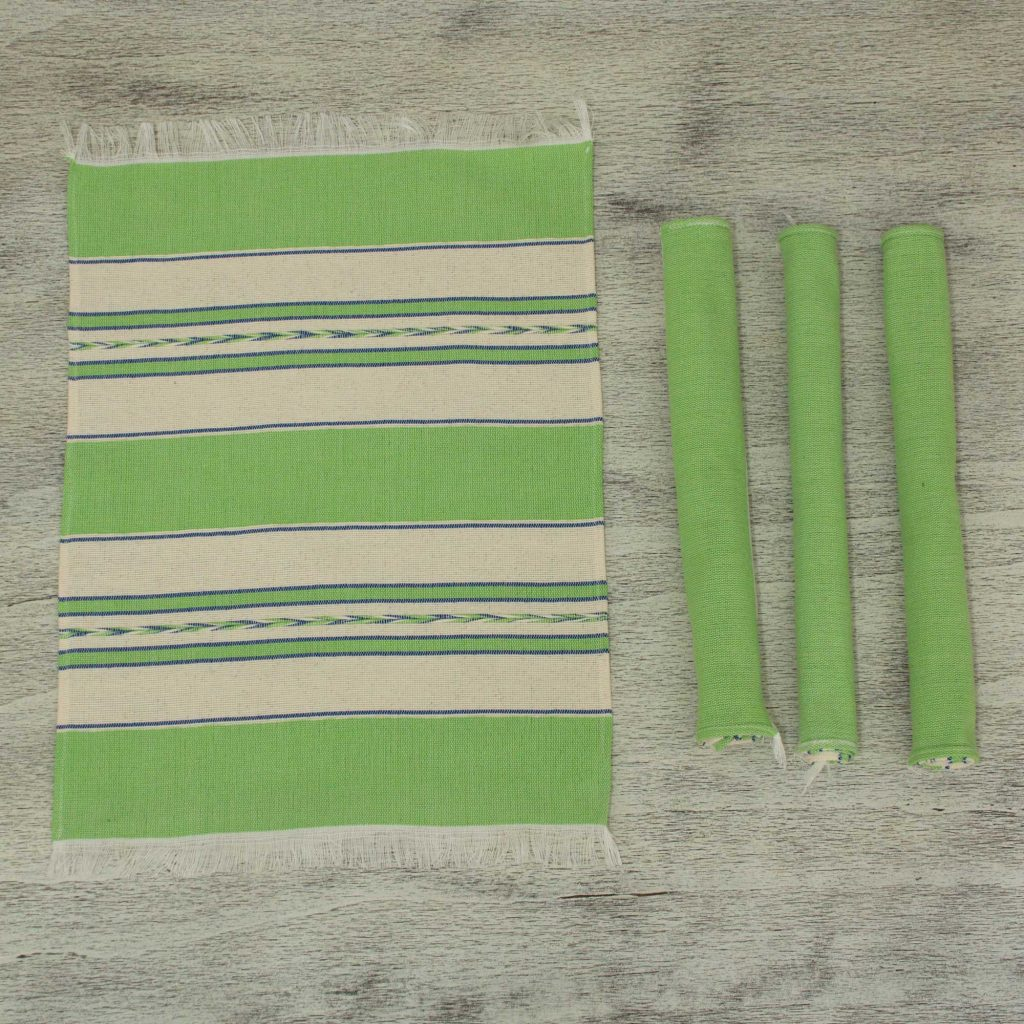 Green and Beige Hand Woven Zapotec Placemats (Set of 4), 'Oaxaca Meadow' for Mexican dinner party