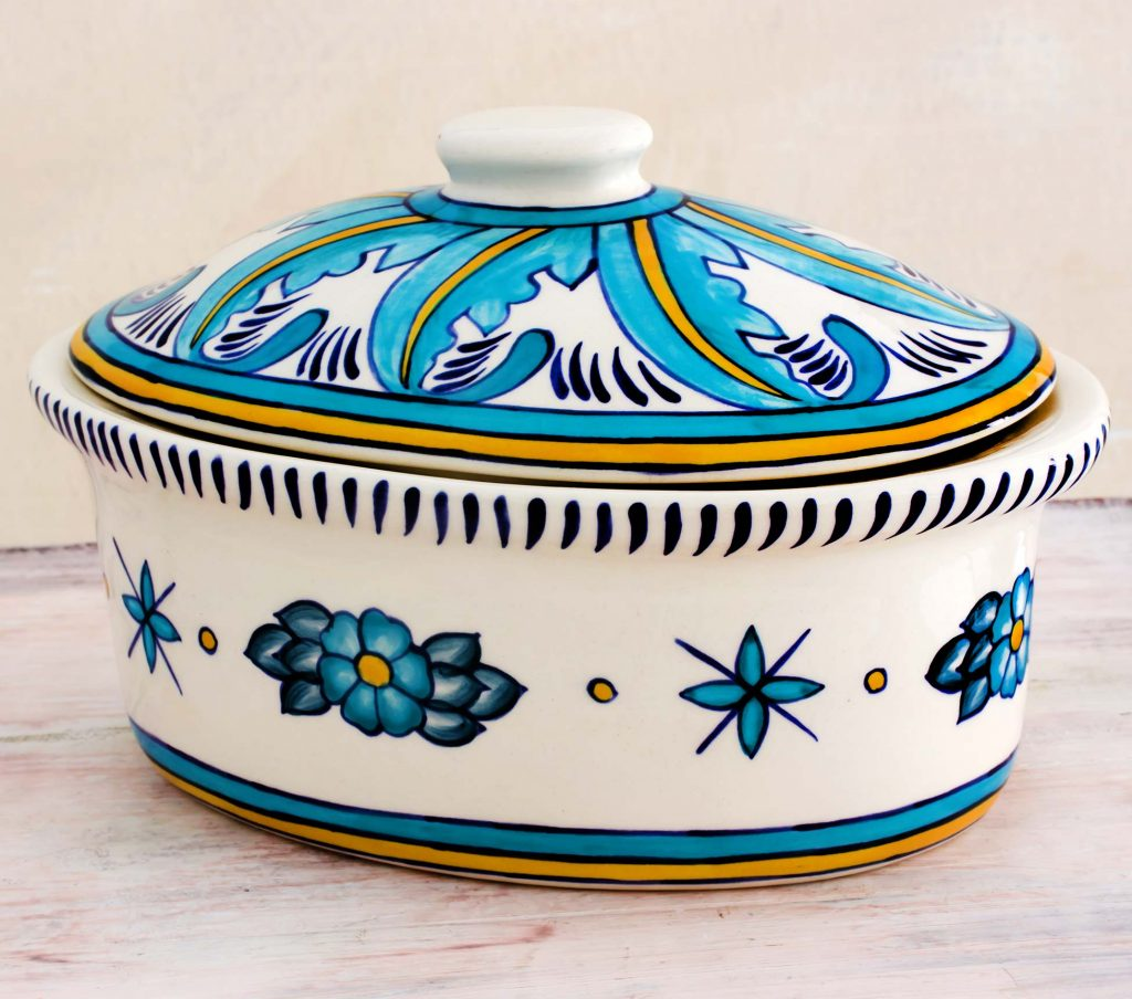 Ceramic Handcrafted Oven-Safe Oval Casserole Dish and Lid, 'Quehueche' for Mexican dinner party