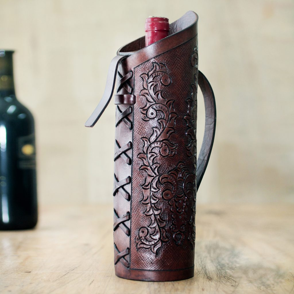UNICEF Andean Original Hand Tooled Leather Wine Bottle Holder, 'Colonial Ivy' Hostess Gifts