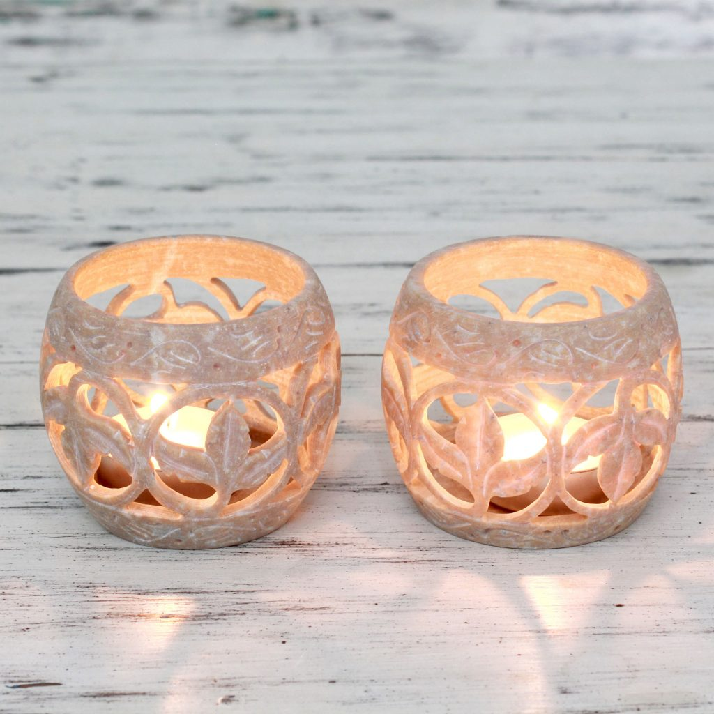 UNICEF Tea Light Artisan Soapstone Candleholders, 'Tendril Tales' Hostess Gifts