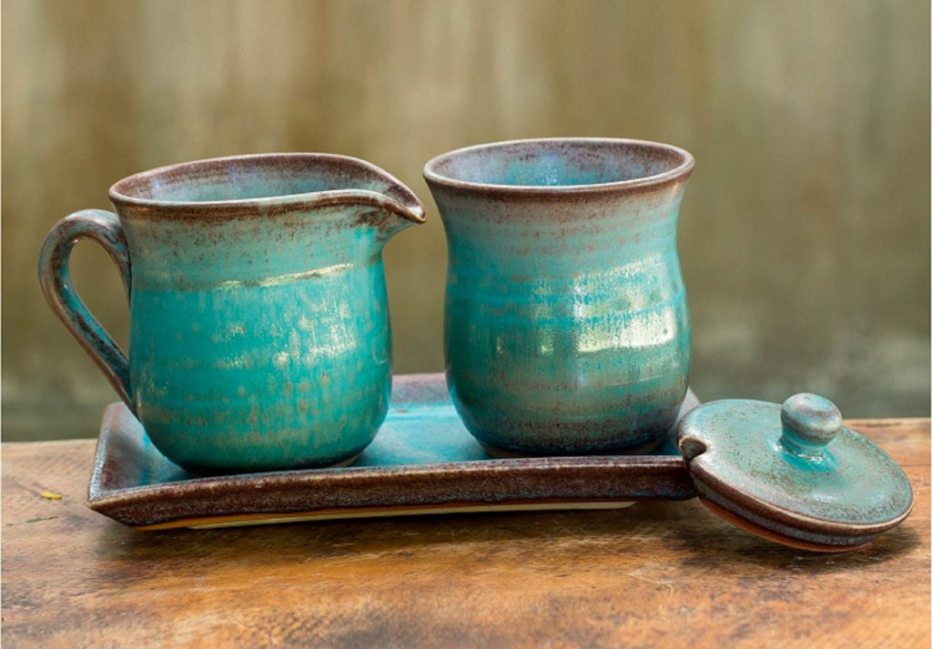 UNICEF Turquoise Cream and Sugar Ceramic Serveware Set, 'Nostalgic Siam' Hostess Gifts