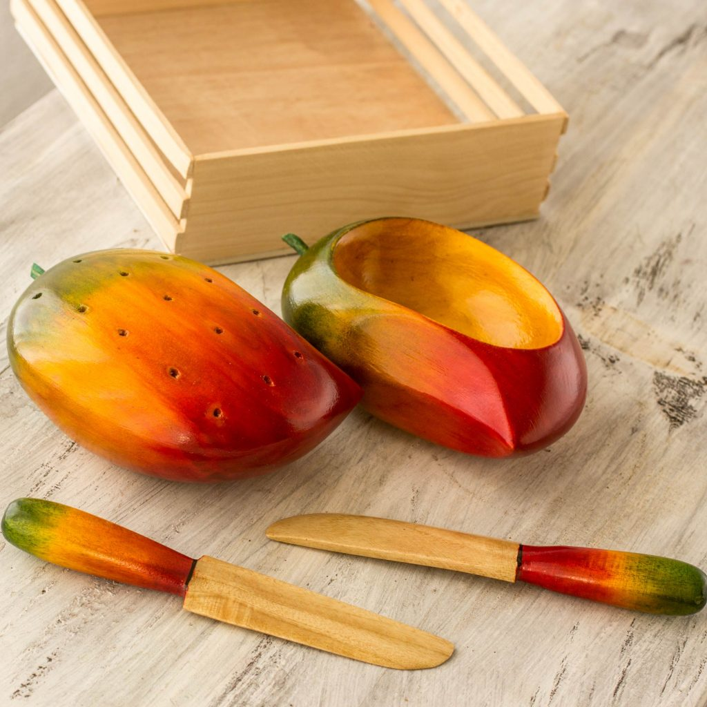 UNICEF Wood canape set (5 Pieces), 'Tropical Mango' Hostess Gifts