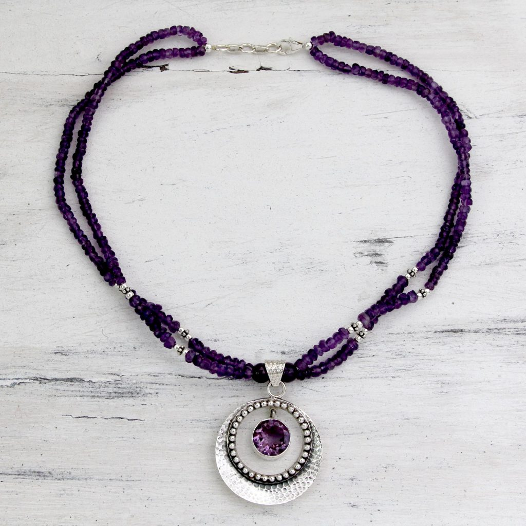 How to Layer Necklaces-UNICEF Indian Jewelry Sterling Silver Beaded Amethyst Pendant Necklace, 'Beautiful Essence' Lobster claw clasp Combination finish How to Layer Necklaces
