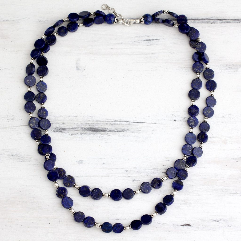 How to Layer Necklaces-UNICEF Lapis lazuli strand necklace, 'Blue Universe' sterling silver lobster claw clasp fair trade How to Layer Necklaces