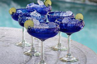 Cinco de Mayo glassware - Handblown Recycled Glass Margarita Set, 'Indigo Ice'