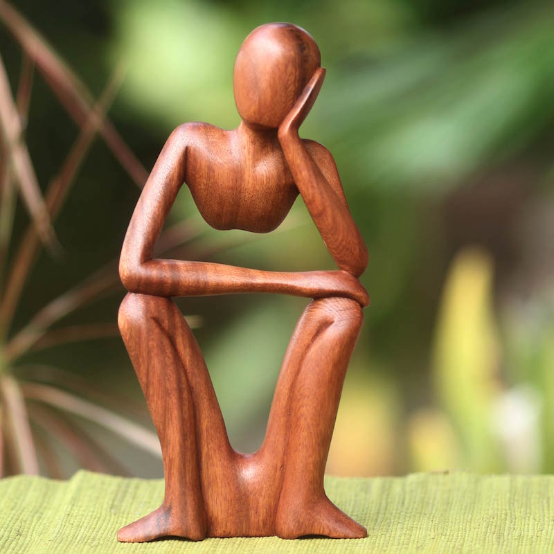 Hand Carved Wooden Sculpture Wishful Thinking Original Fine Art UNICEF Meaningful sculptures