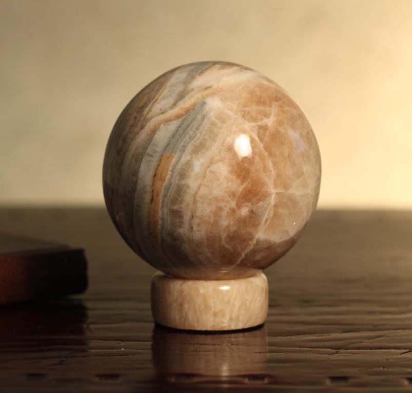 Jasper Sphere Sculpture Inner Peace Hand Crafted Geometric Stone Meaningful Sculpture