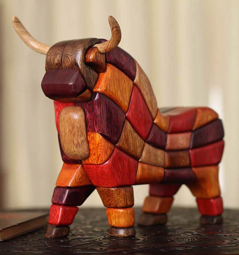 Lucky Bull from Pucara Hand Carved Wood Meaningful Sculpture Original Fine Art