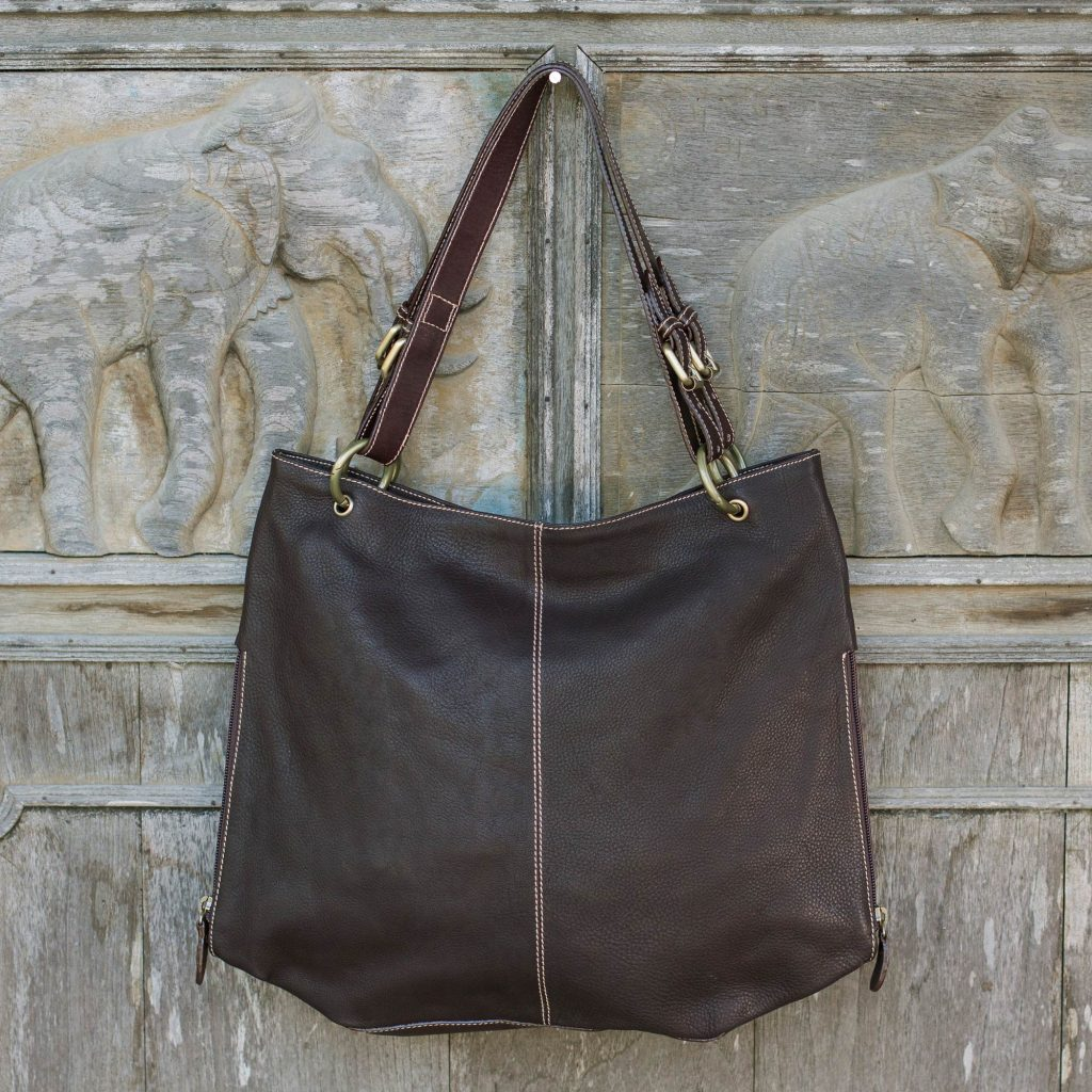 Novica Leather tote handbag, Expansive Brown