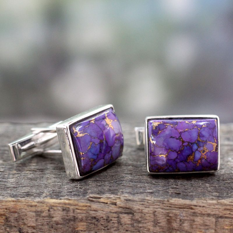 Sterling Silver Cufflinks with Purple Stones, 'Bold Charisma' Unique Father's Day GIft