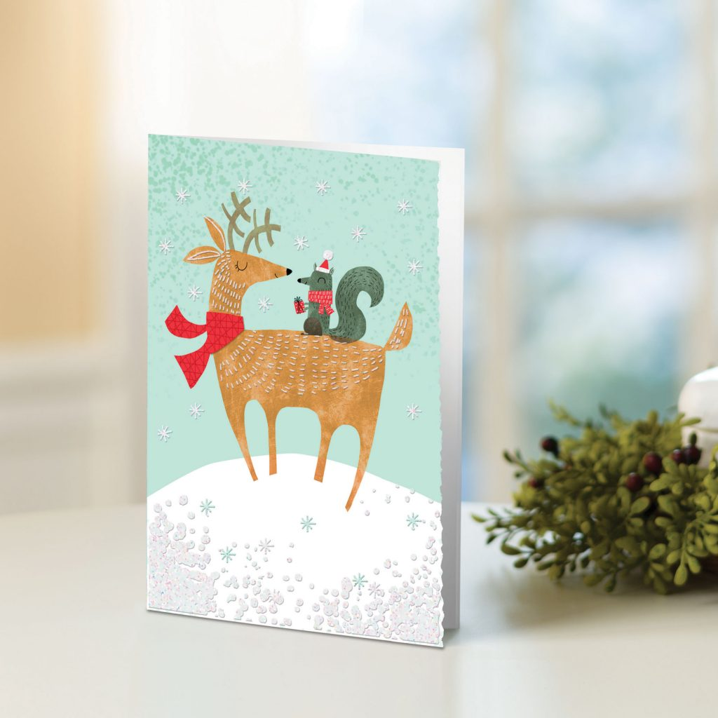UNICEF Holiday Cards Boxed Set , 'Reindeer and Squirrel' unique christmas cards