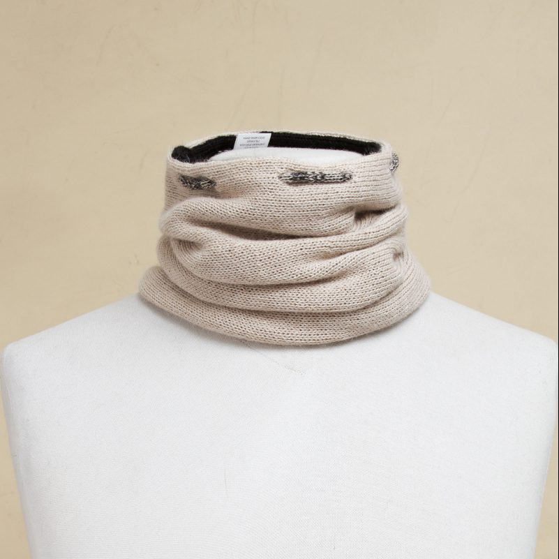 Men's Beige Black Reversible 100% Alpaca Neck Warmer Hat, 'Versatile Beige' Unique Father's Day Gift