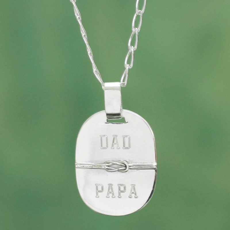 Dad Papa Love Knot Silver Pendant Necklace from Peru, 'Honor Thy Father' Unique Father's Day Gift