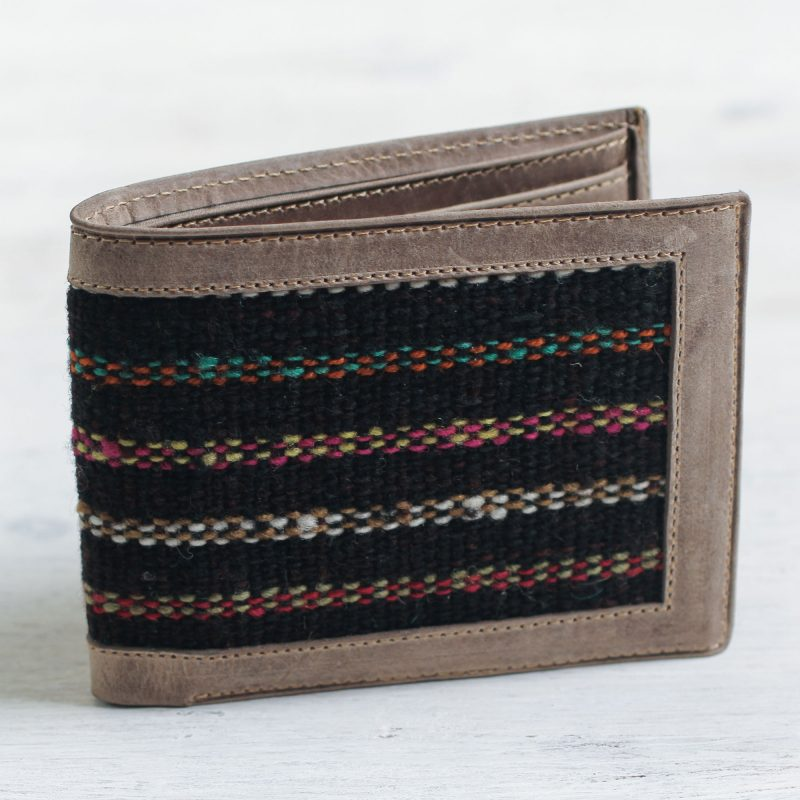 Artisan Crafted Men's Leather Wallet with Black Wool Inset, 'Fiesta Night' Unique Father's Day Gift