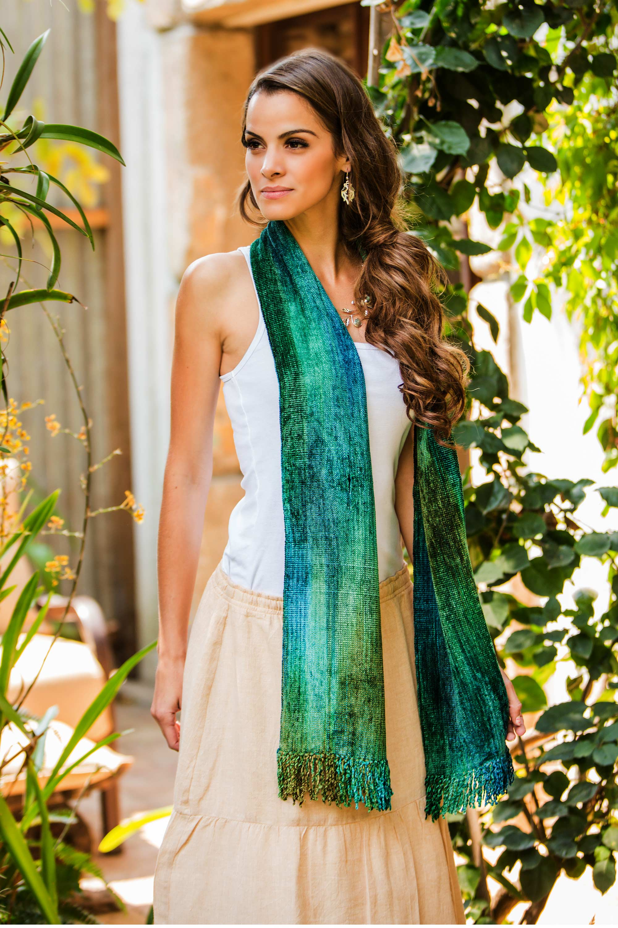 Handcrafted Cotton Blend Scarf, 'Emerald Dreamer' Scarf and Shawl Styles for fall