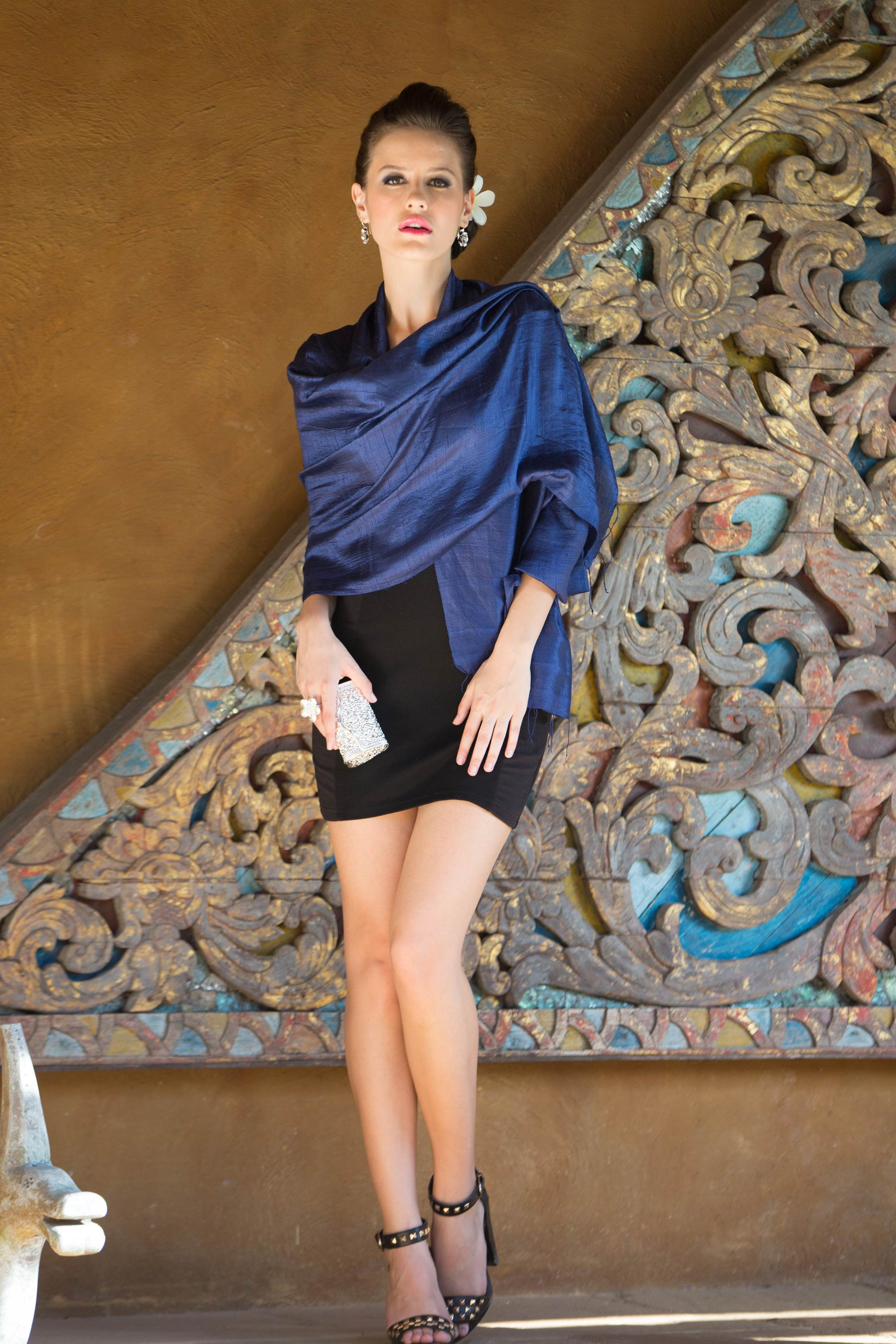 Deep Blue Raw Silk Wrap, 'Midnight' Scarf and Shawl Styles