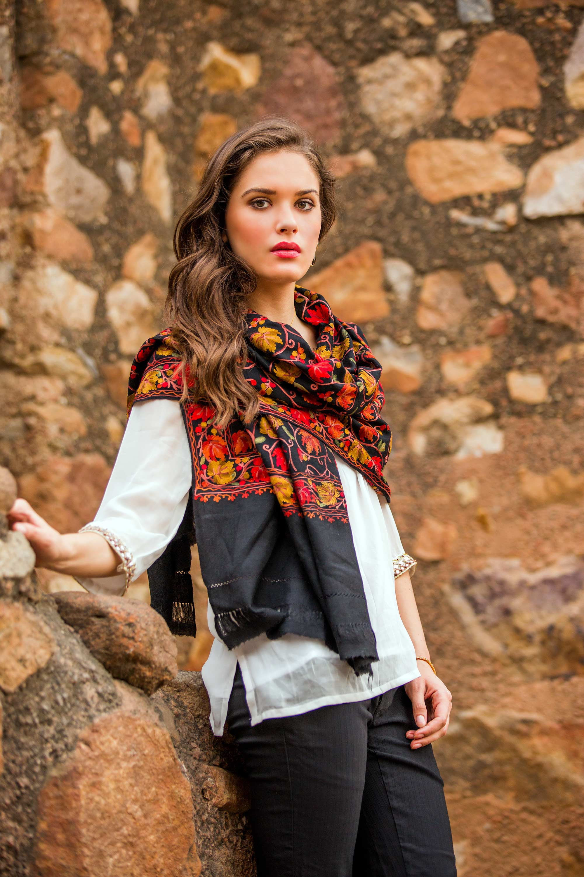 Artisan Made Floral Chain Stitch Embroidery Black Wool Shawl, 'Midnight Mums' Scarf and Shawl styles