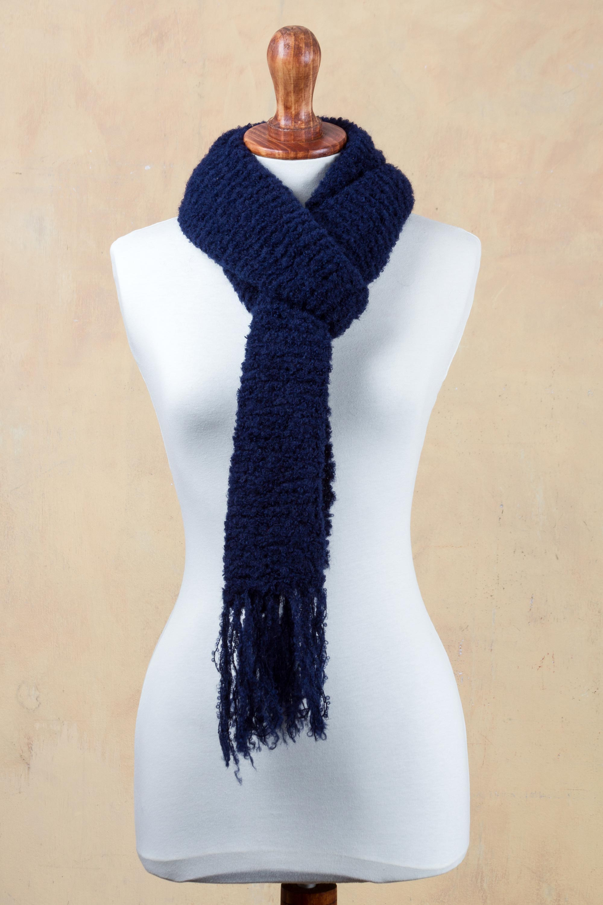 Indigo Color Scarf Knitted by Hand with Soft Alpaca Wool, 'Indigo Story' Scarf and Shawl Styles