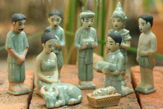 Handcrafted Thai Celadon Nativity Set (Set of 9), 'Thai Nativity'