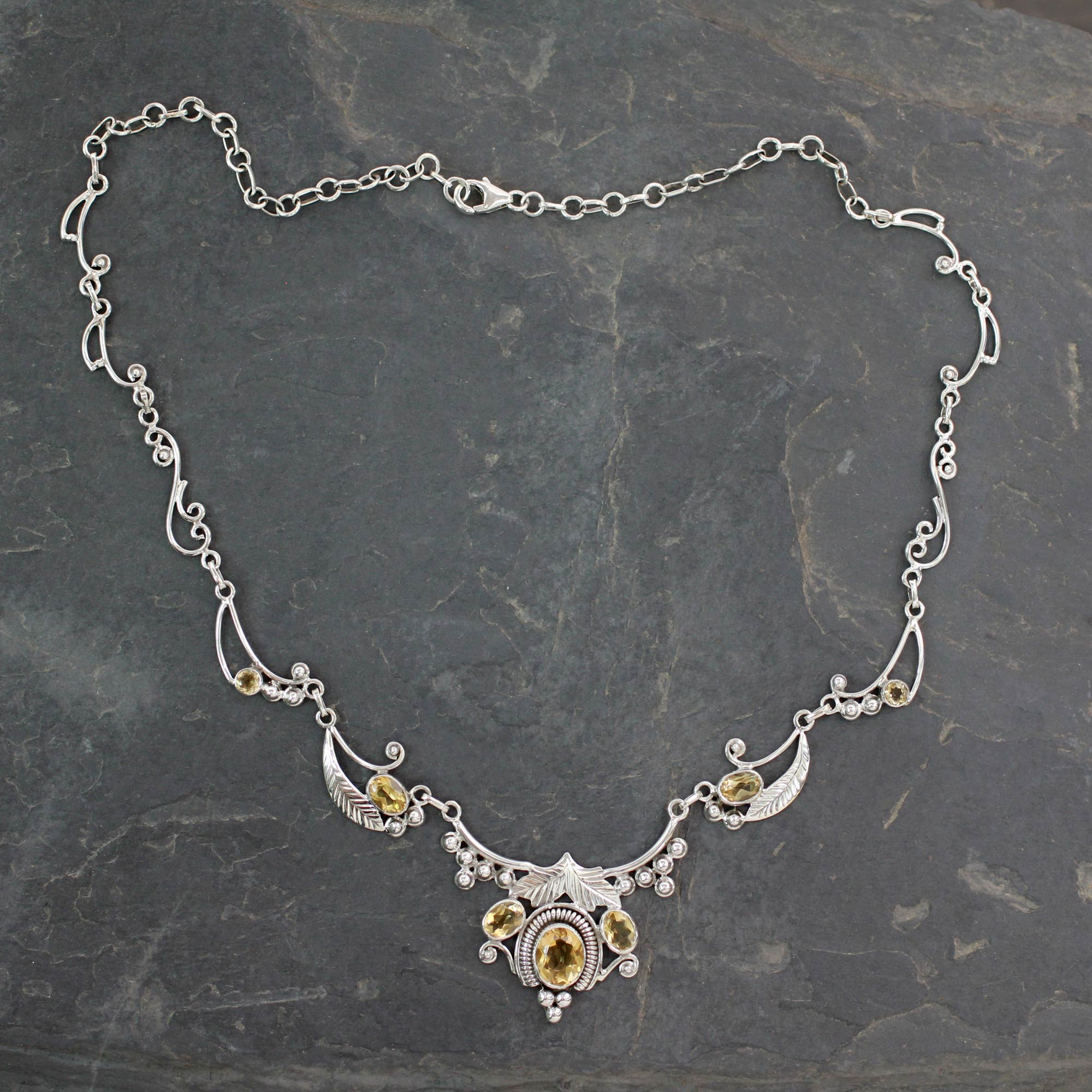 Handcrafted Sterling Silver and Gemstone Floral Necklace, 'Indian Princess' Birthstone Citrine
