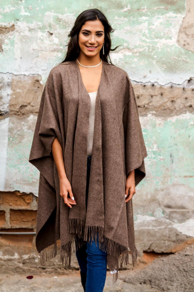 Alpaca Wool Solid Wrap Ruana from Peru, 'Lush Dark Brown' wraps and ruanas