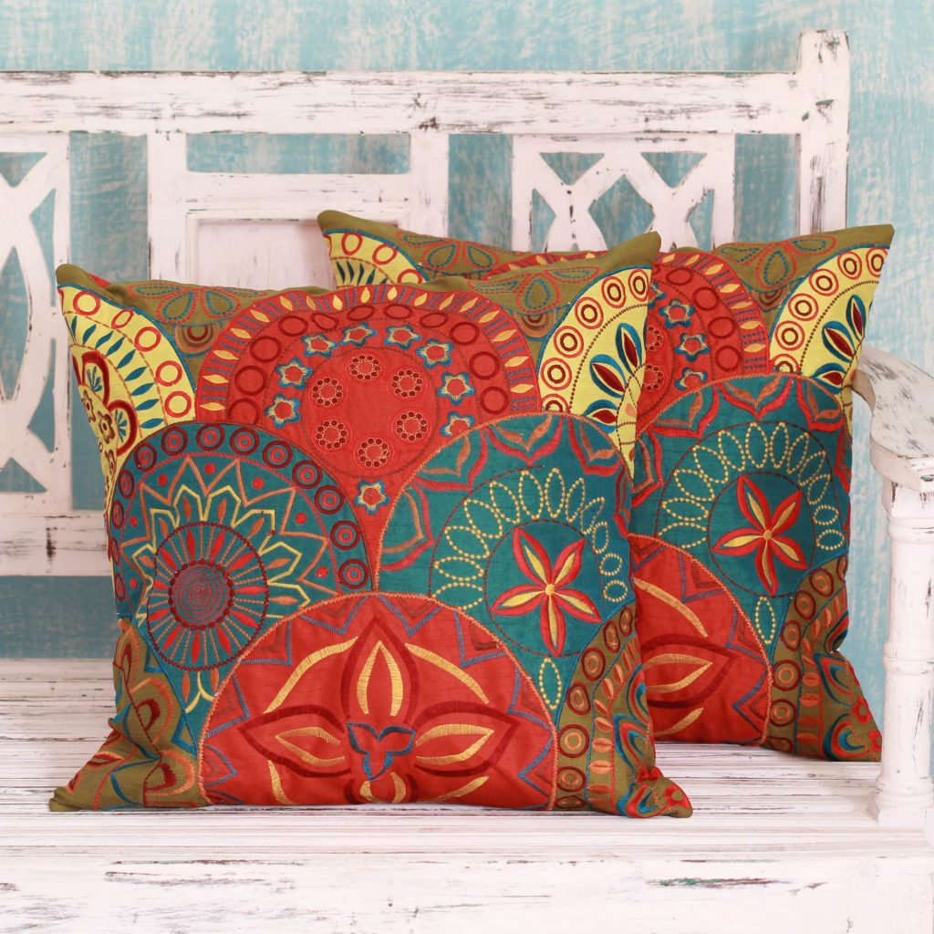 2 Orange and Teal Embroidered Applique Cushion Covers, 'Glorious' cushions, decorative cushions throw blankets and pillows