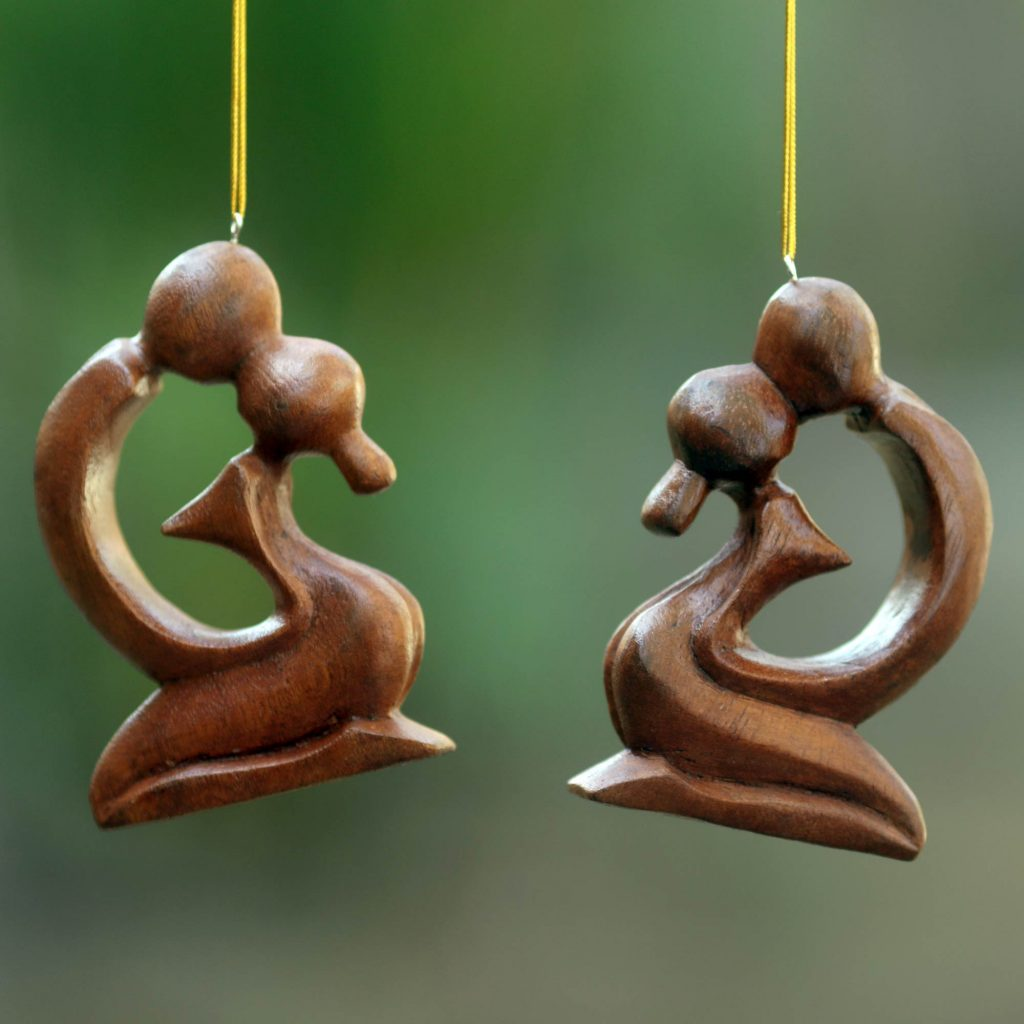 Holiday Décor Hints 2 Ornaments of Couple Kissing Hand Carved of Suar Wood, 'A Loving Kiss' Christmas Tree natural grain. Made in Indonesia