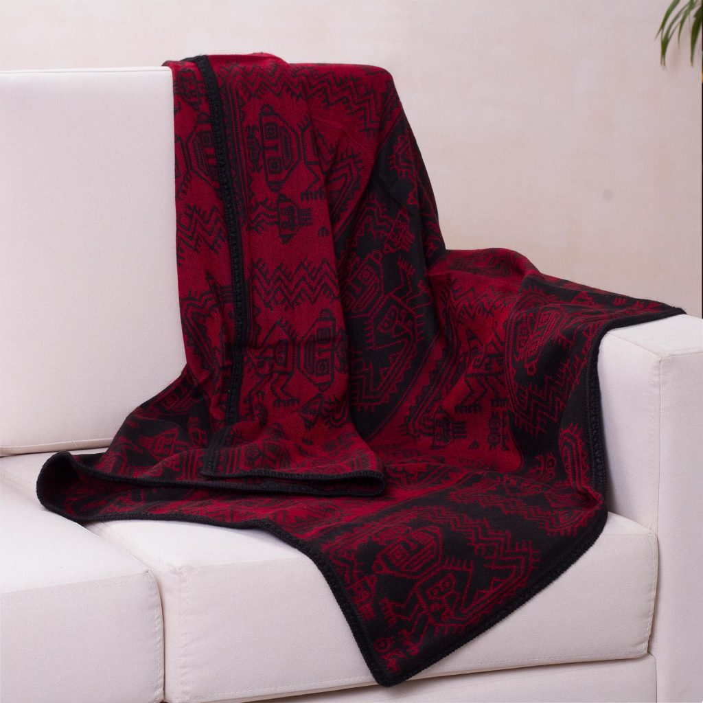 Alpaca Wool Blend Original Throw Blanket, 'Paracas Treasure' reversible red and black throw blanket, home decoration throw blankets and pillows
