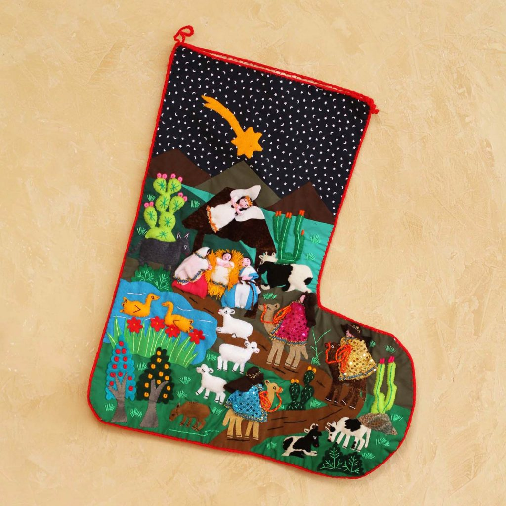 Applique Christmas stocking, 'The Arrival of the Magi' Holiday accessories Holiday Décor Hints