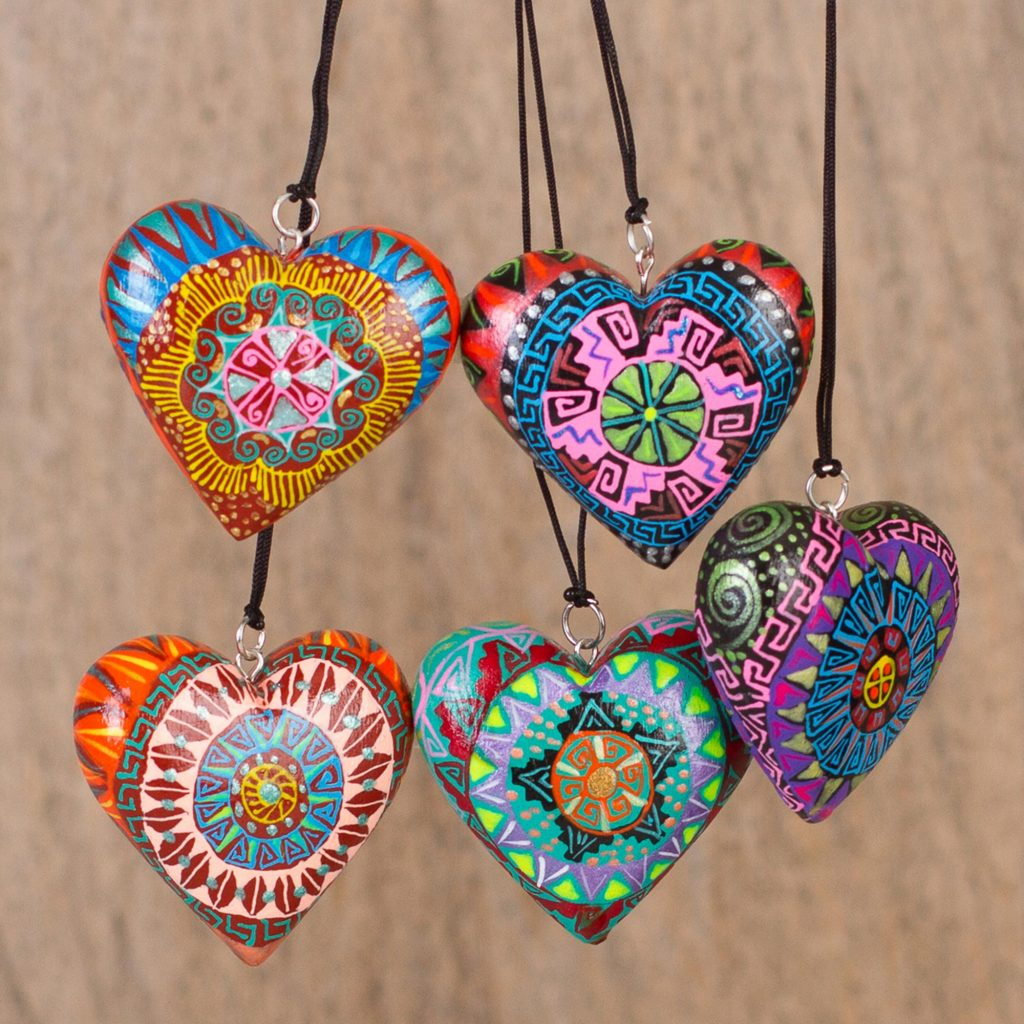 Holiday décor Hints Five Painted Heart-Shaped Alebrije Ornaments from Mexico, 'Alebrije Hearts'