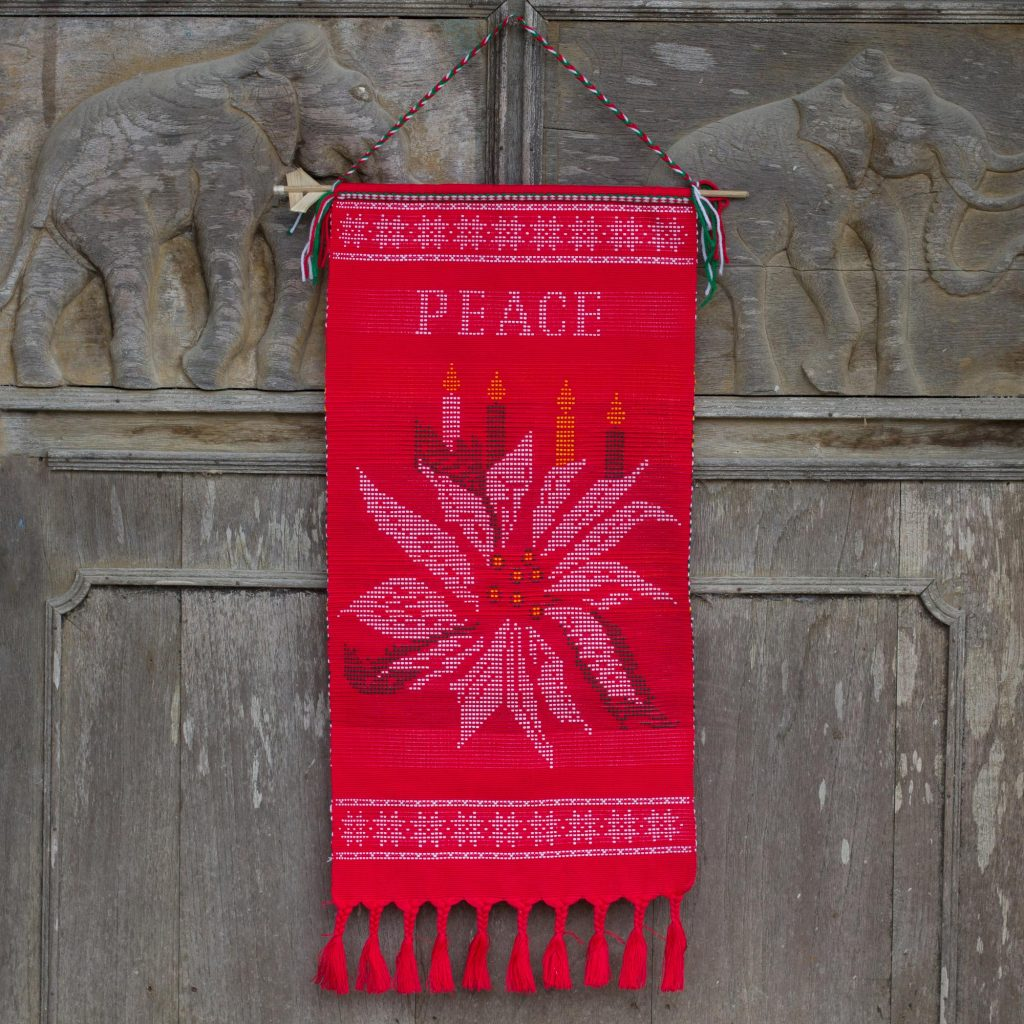 Holiday Décor Hints Hill Tribe Red Cotton Christmas Peace Theme Wall Hanging, 'Peace' cord for hanging. Made in Thailand