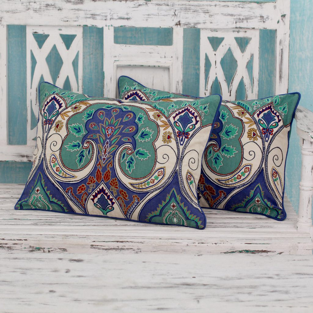 Multicolored Embroidered Cushion Covers from India (pair), 'Autumn in Delhi' handmade pillows, decorative pillows throw blankets and pillows