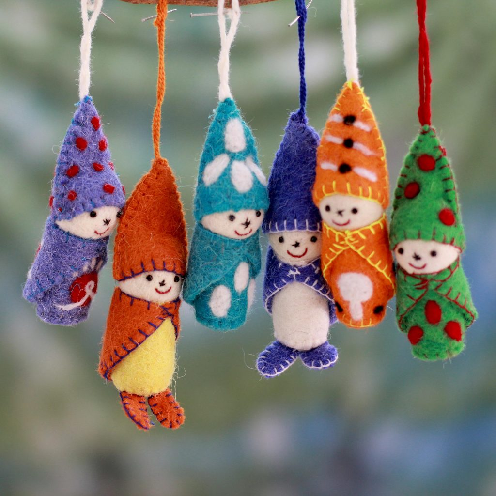 Multicolored Handcrafted Nonbreakable Holiday Ornament Set, 'Snow Babies' Bundled in colorful woolens. Handcrafted in India by Rajesh Gehlot. Set of 6. Made in India Holiday Décor Hints