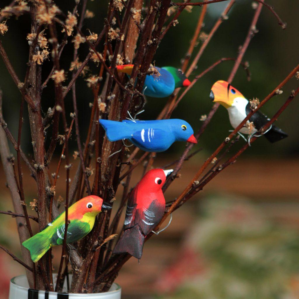 Holiday Décor Hints Set of 5 Brazilian Bird Ornaments for Display, 'Birds in My Garden'