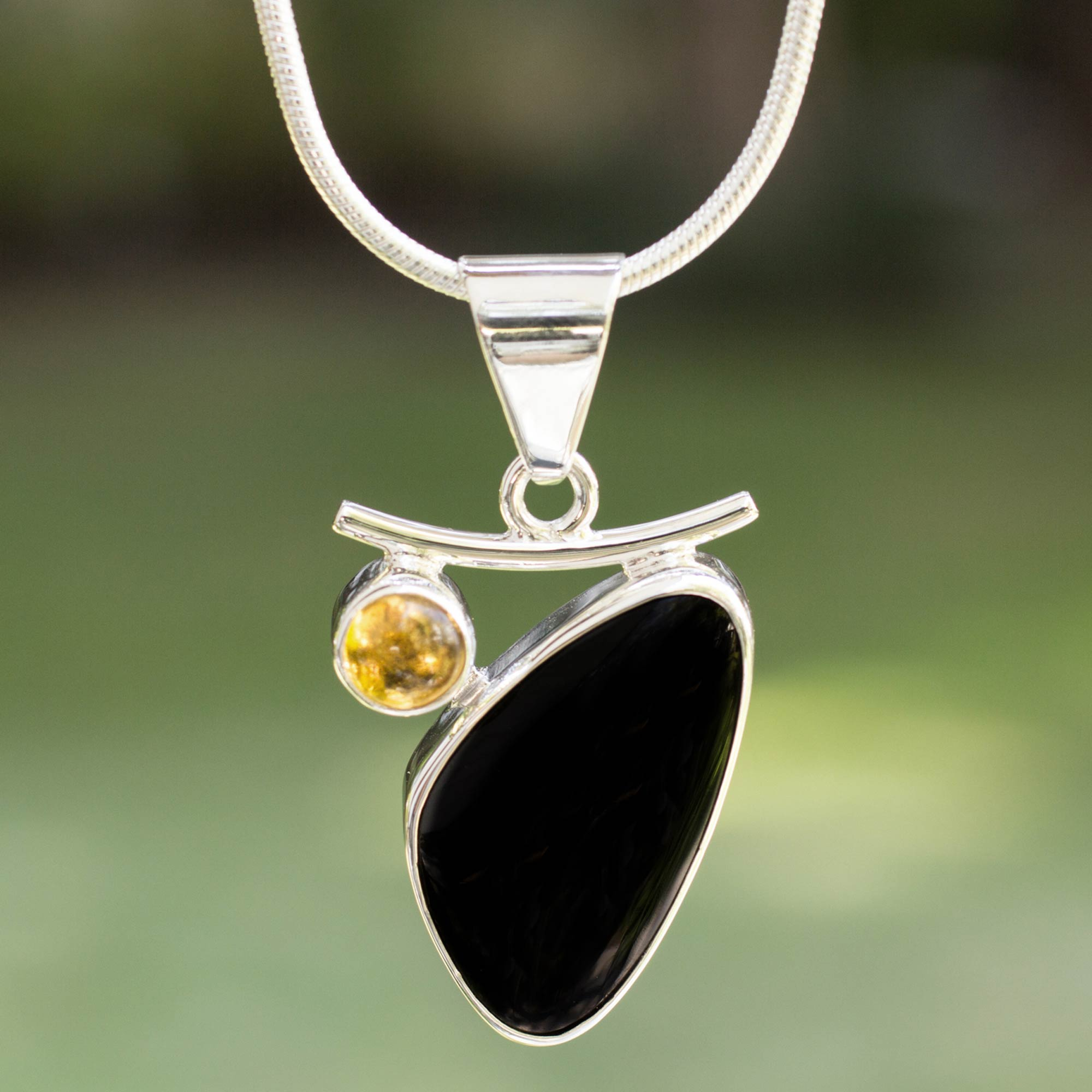 Modern Citrine and Obsidian Necklace from Mexico, 'Light Up the Night' Birthstone citrine