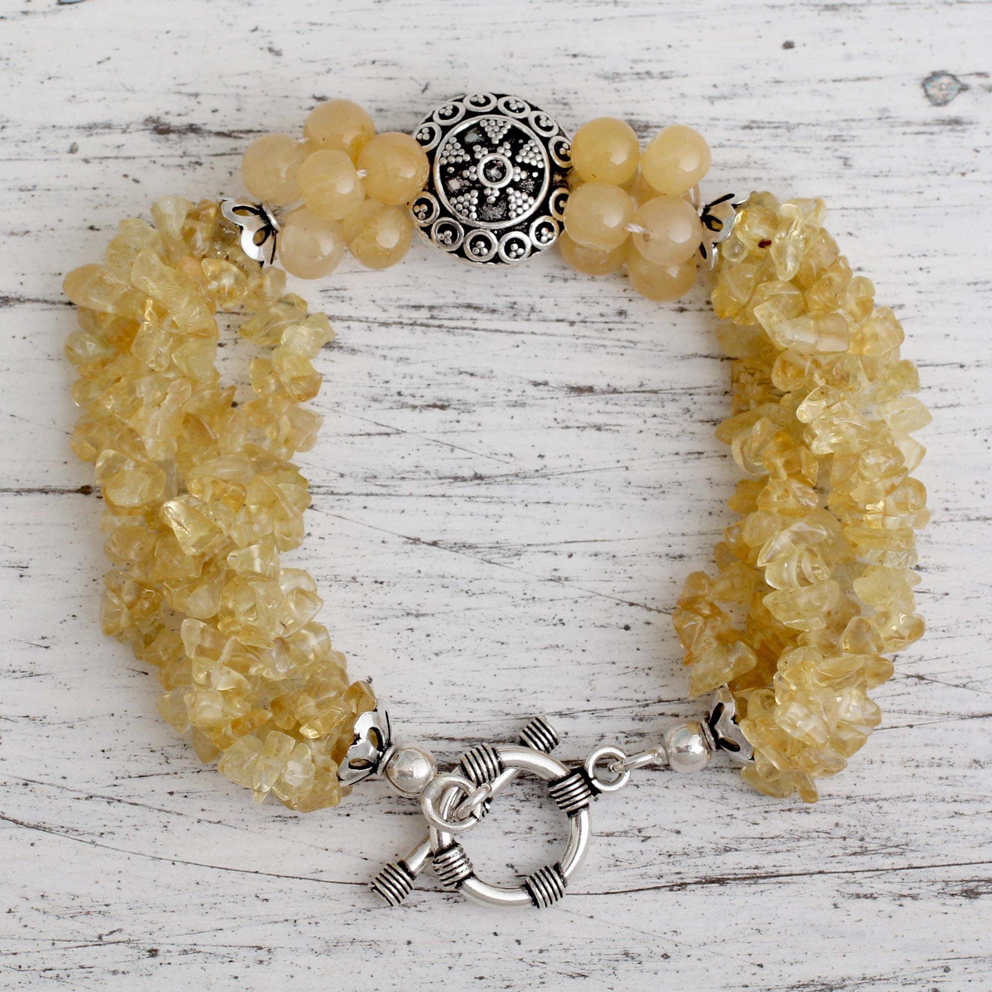Unique Citrine Beaded Torsade Bracelet, 'Golden Treasure' Birthstone citrine